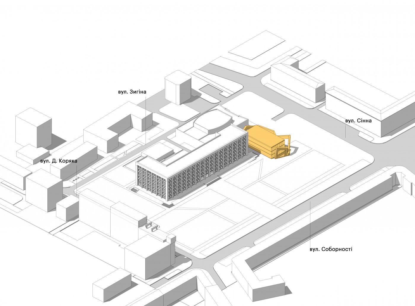Розташування ЦНАП на ділянці / «Територія Майдану» — площа перед будівлею Полтавської ОДА