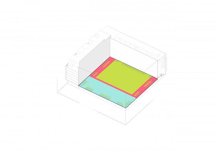 Геометрія простору для спілкування підтримує чіткі фасади, а доріжки паркової зони налаштовують жителів на спокійний відпочинок / Двір ЖК 'Rybalsky'
