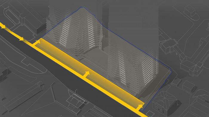 Влаштовуємо площу перед ЖК за рахунок розширення тротуару до будівлі / Територія ЖК 'Diadans'