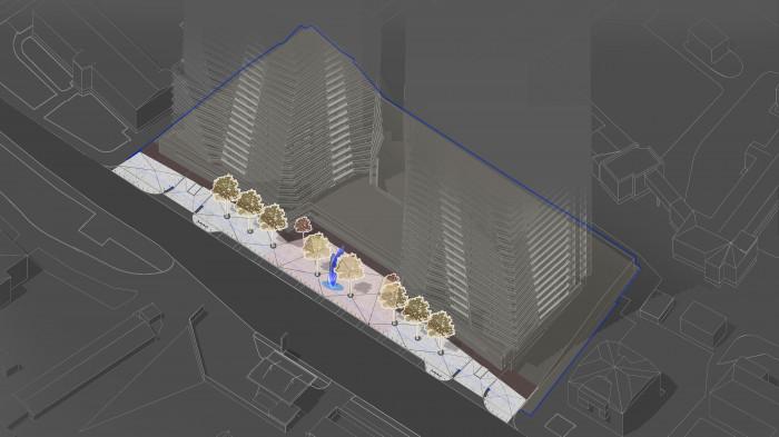По центру площі — інтерактивний арт-об'єкт, — легка металева скульптура / Територія ЖК 'Diadans'