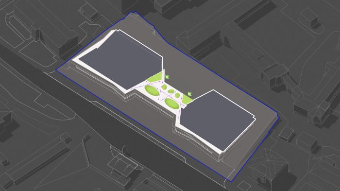 В основі планування — відкрита площа. Продовжуємо масиви зелених насаджень з рівня внутрішнього двору на дах. Враховуючи пішохідні зв'язки формуємо великі зелені зони. / Територія ЖК 'Diadans'