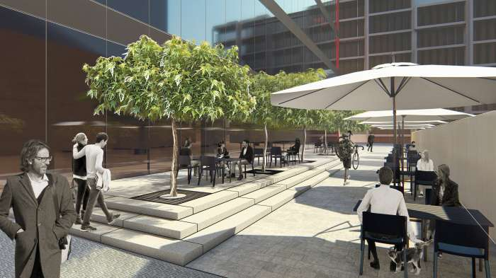 Ґанок з літнім кафе / Бізнес-кампус 'UNIT.City'