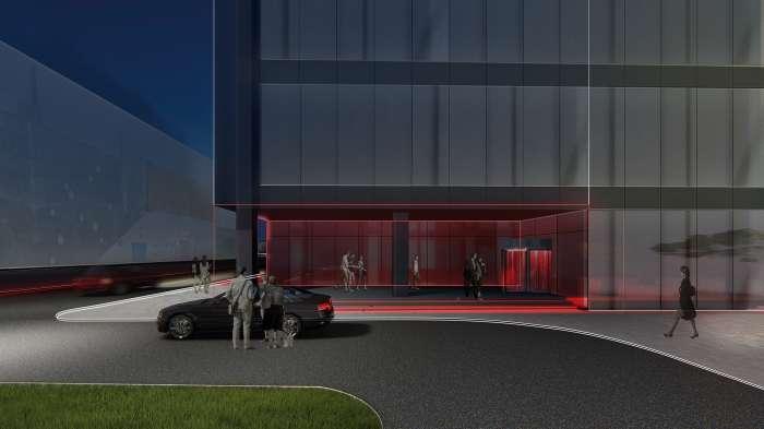Вхід з автомобільним під'їздом / Бізнес-кампус 'UNIT.City'