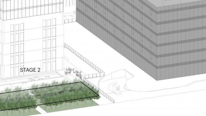 Поряд з ділянкою будівлі знаходиться друга черга будівництва 'UNIT.City' де запроектовано лісову зону зі щільними зеленими насадженнями кельрейтерії, горобини та софори / Бізнес-кампус 'UNIT.City'