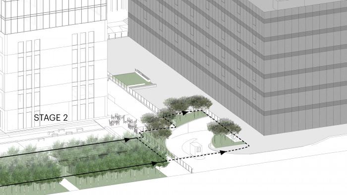 Для забезпечення цілісності сприйняття території продовжуємо зону зелених насаджень з використанням сумаху оленерогого / Бізнес-кампус 'UNIT.City'