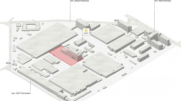 Поруч знаходиться ІТ-школа 'UNIT.Factory' / Event plaza 'UNIT.City'
