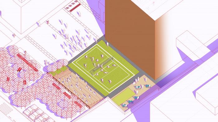 Відкритий аудиторіум —  волейбол / Event plaza 'UNIT.City'