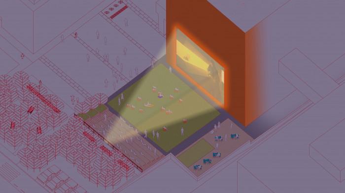 Відкритий аудиторіум — кіно та лекторій / Event plaza 'UNIT.City'