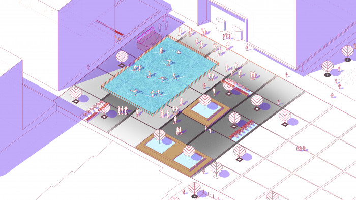 Площа на другому етапі будівництва — ковзанка / Event plaza 'UNIT.City'