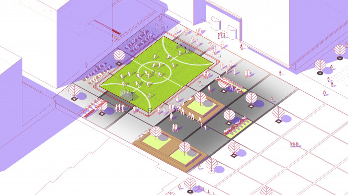 Площа на другому етапі будівництва — міні-поле для гри в футбол / Event plaza 'UNIT.City'