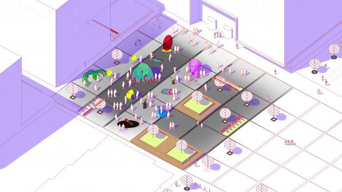 Площа на другому етапі будівництва —  виставки / Event plaza 'UNIT.City'