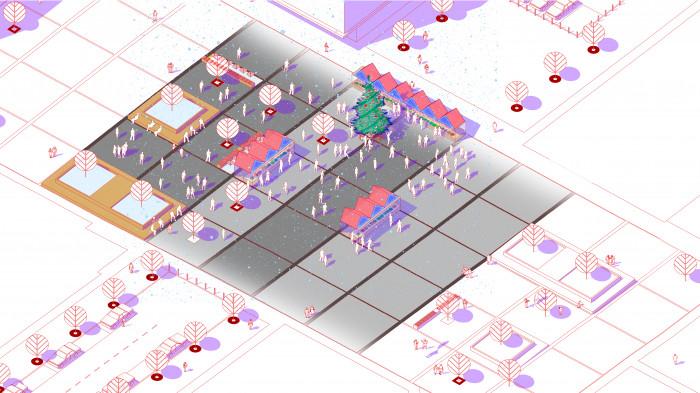 Площа на третьому етапі будівництва — новорічні свята / Event plaza 'UNIT.City'