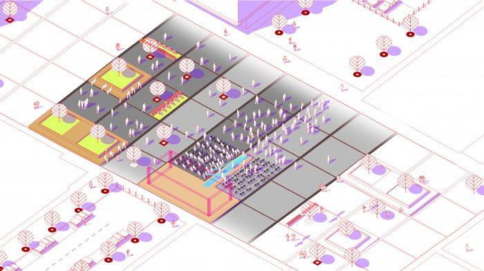 Площа на третьому етапі будівництва —  покази мод / Event plaza 'UNIT.City'