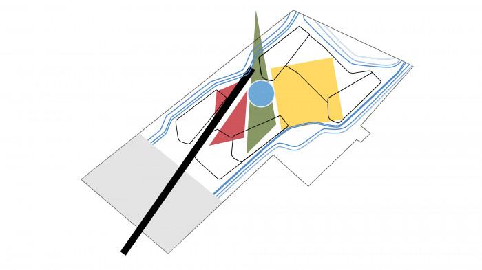 Завдяки поєднанню геометрії та плавних ліній досягається чітке розділення двору та території громадського користування / Територія ЖК 'Kandinsky'