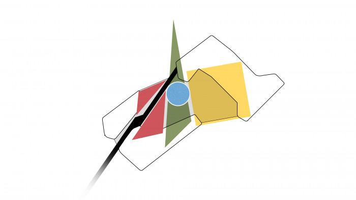 На місці головних функцій двору утворюються базові геометричні фігури — коло, трикутник та квадрат, які візуально збільшують його / Територія ЖК 'Kandinsky'