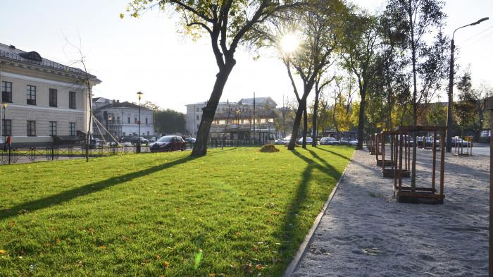 Газон для відпочинку в тіні великих ясенів / Відновлення скверу №3 на Контрактовій площі