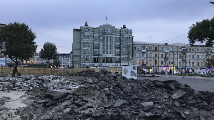 Зняття асфальтного покриття / Відновлення скверу №3 на Контрактовій площі