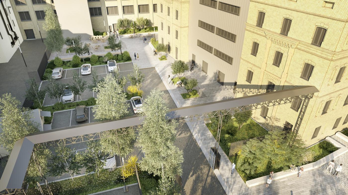 Візуалізація внутрішнього двору © 'In Situ' atelier de paysages et d'urbanisme / Внутрішній двір офісу 'Roshen'