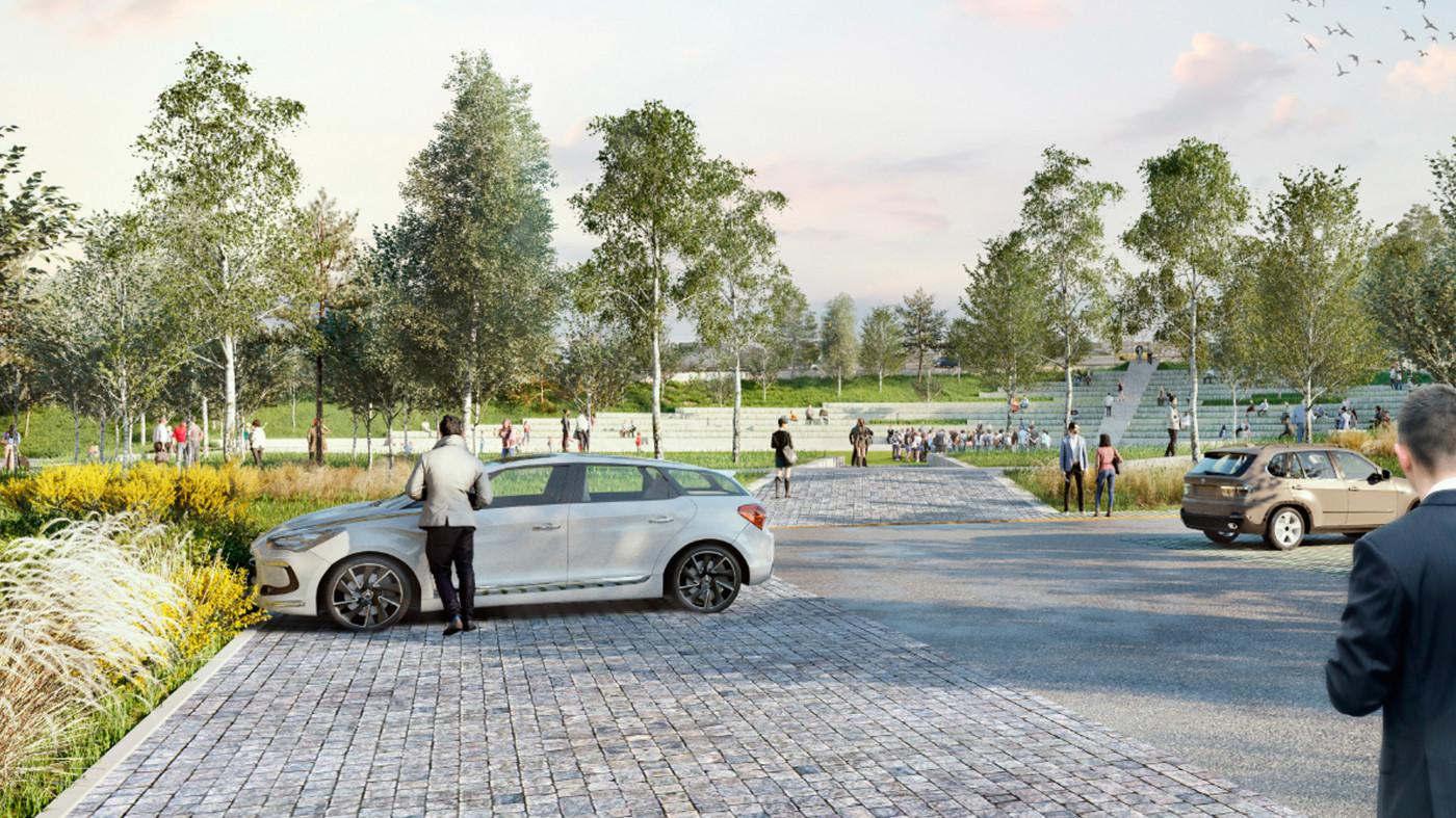 Візуалізація паркінгу © 'In Situ' atelier de paysages et d'urbanisme / Внутрішній двір офісу 'Roshen'