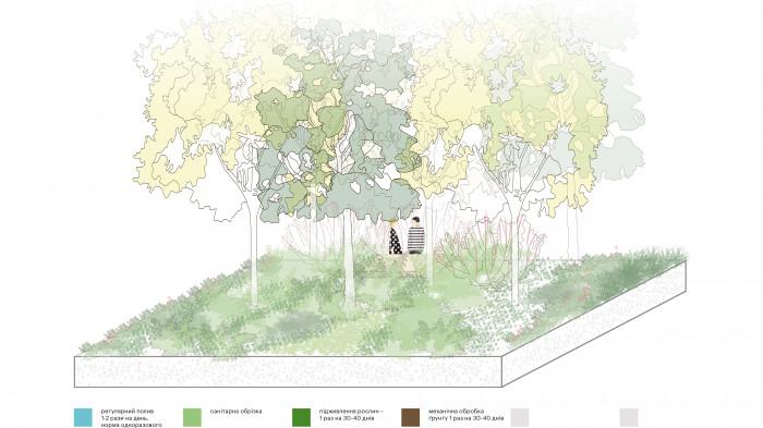 4 роки — рослини набувають дорослої форми, починає формуватися екосистема / Event plaza 'UNIT.City'