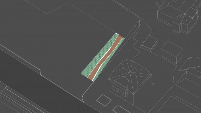 За рахунок ламаної геометрії архітектури трансформуємо контур пандусів, лінії зламів підкреслюємо вставками з кортенової сталі / Територія ЖК 'Diadans'