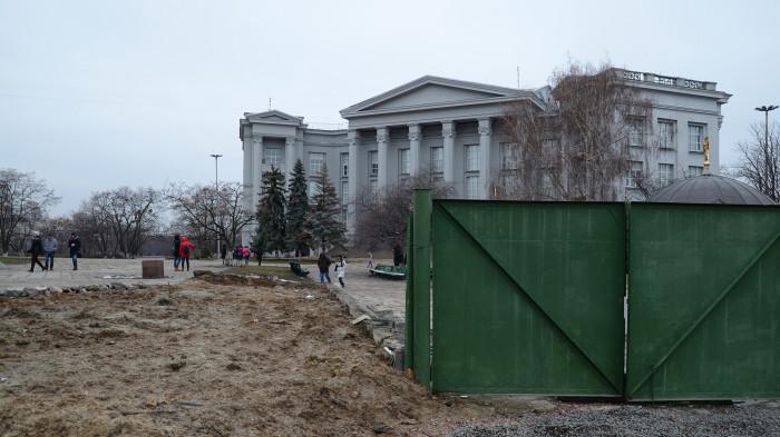 Рештки огорожі перекривали пішохідні зв'язки / Відновлення Старокиївської гори