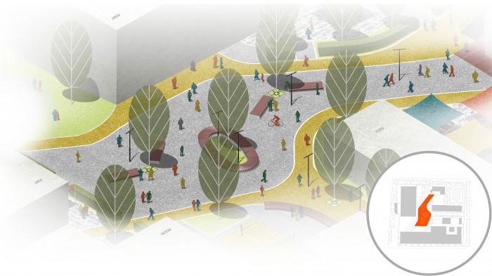 Центральна площа — головний простір, довкола якого розташовані школа, офіси та кафе / Інноваційний парк 'UNIT.City'