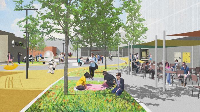 Тут вирує життя: люди зустрічаються, спілкуються, відпочивають та йдуть у своїх справах / Інноваційний парк 'UNIT.City'