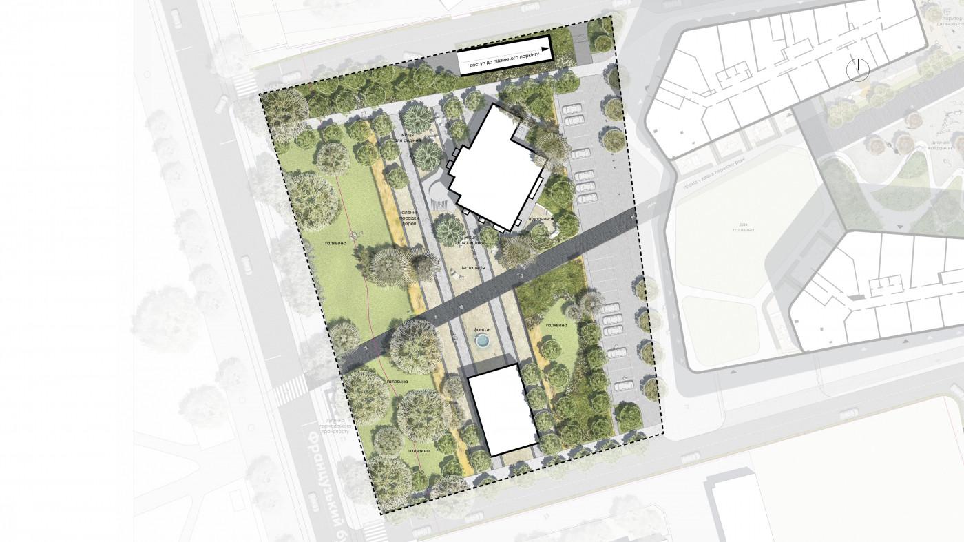 Паркова зона зі сторони Французького бульвару / Територія ЖК 'Kandinsky'