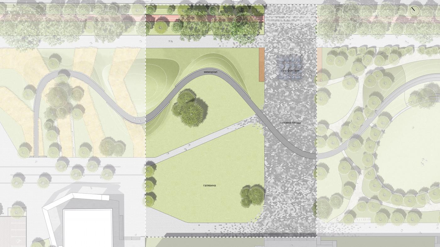 Головна площа та галявина для активного відпочинку / «Територія Майдану» — площа перед будівлею Полтавської ОДА