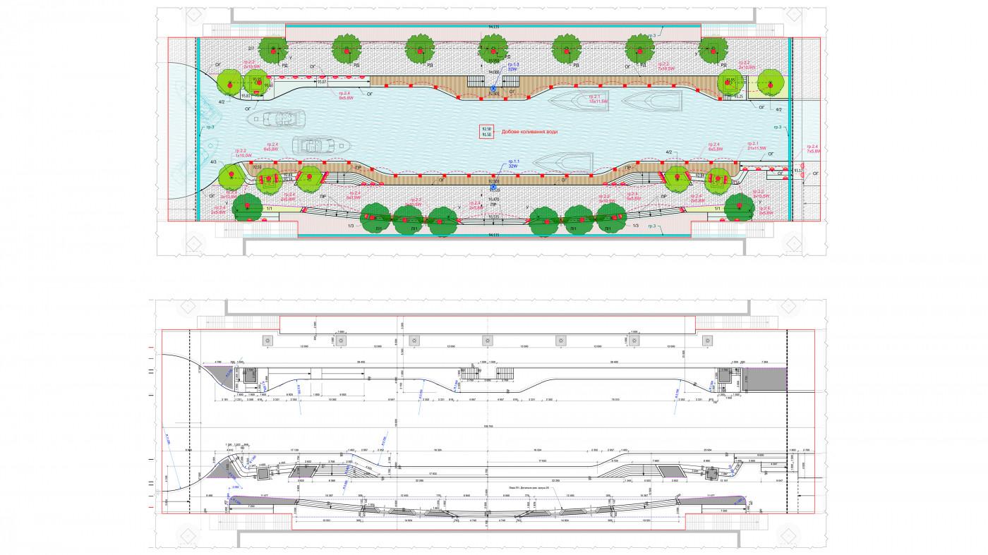 Схема генерального плану та розбивочне креслення — зона кафе та ресторанів / Канал ЖК 'Rybalsky'