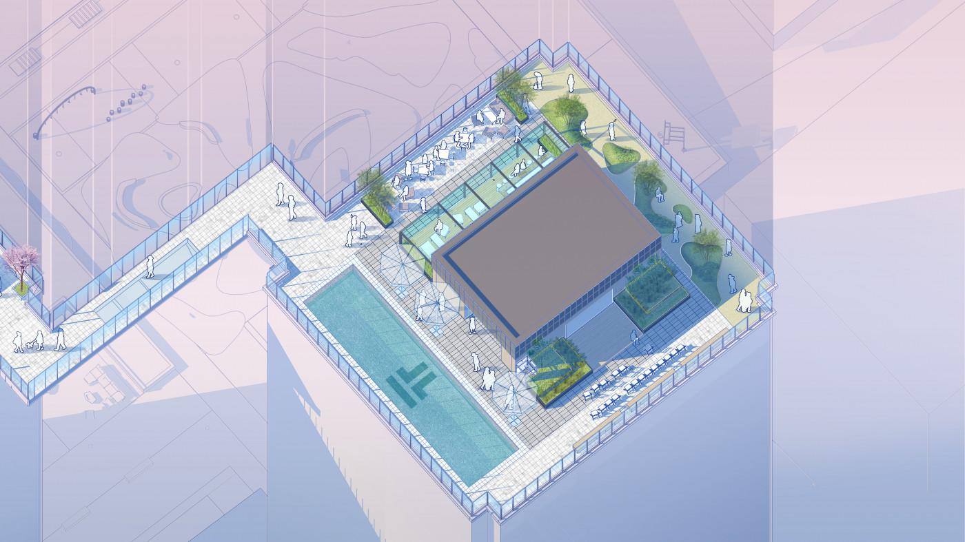 Аксонометрична ілюстрація / Дах ЖК 'Tetris Hall'