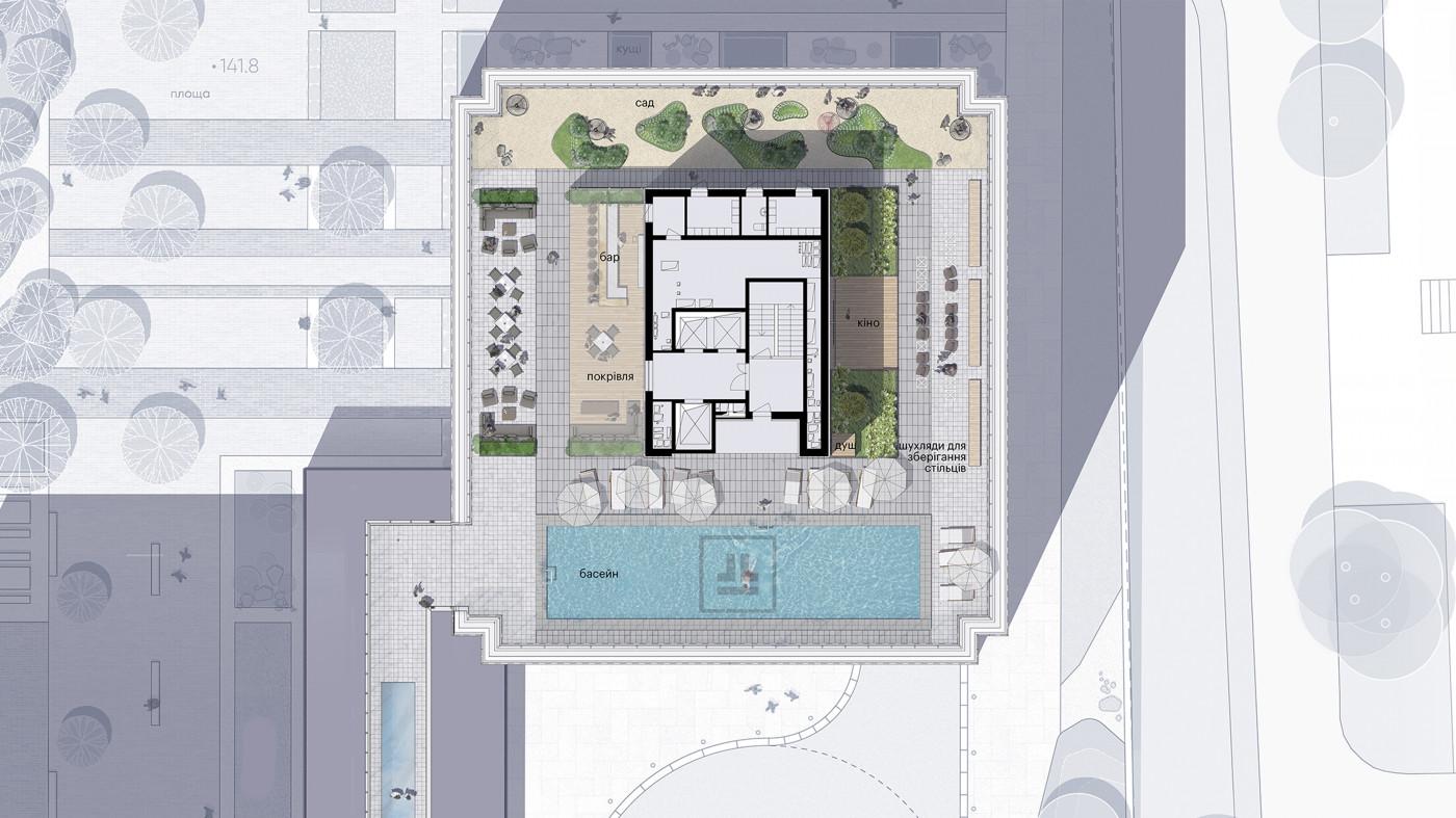 Фрагмент генерального плану / Дах ЖК 'Tetris Hall'