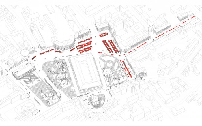 Хаотичне паркування автомобілей / Відновлення скверу №3 на Контрактовій площі