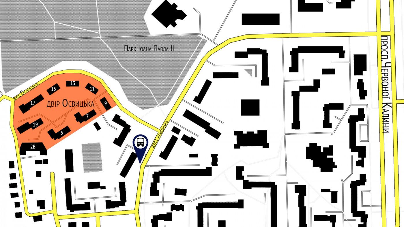 Схема розташування двору в контексті Сихівського району / Реконструкція прибудинкової території