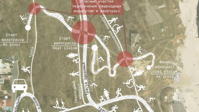 Схема існуючих маршрутів в зоні велотрас 4x cross u Dual Slalom / Воркшоп «Одеські схили»