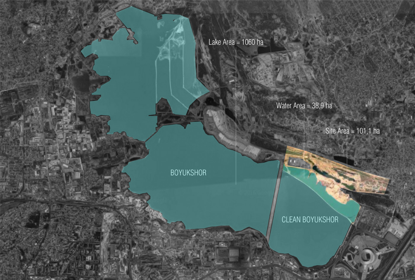 The lake and surroundings / Residential area on the territory of Boyukshor lake