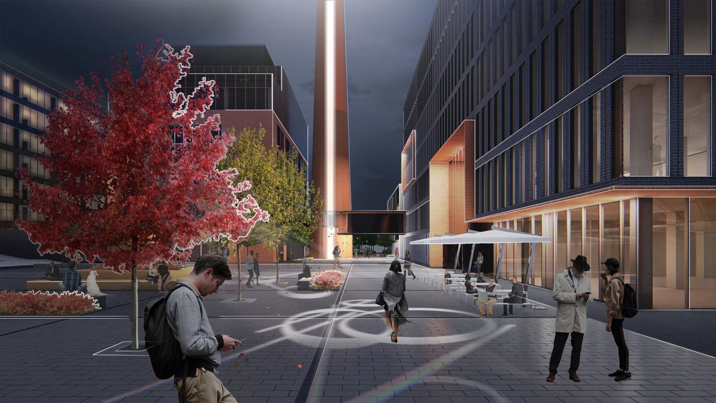 Нічна площа та використання інтерактивного освітлення / Event plaza 'UNIT.City'