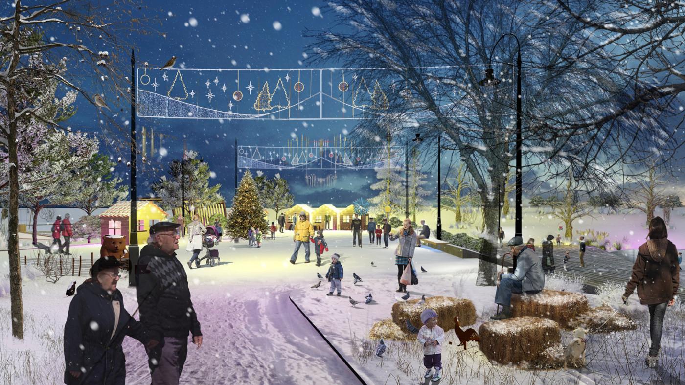 Зимовий сценарій використання площі / Парк «Чумацький шлях»