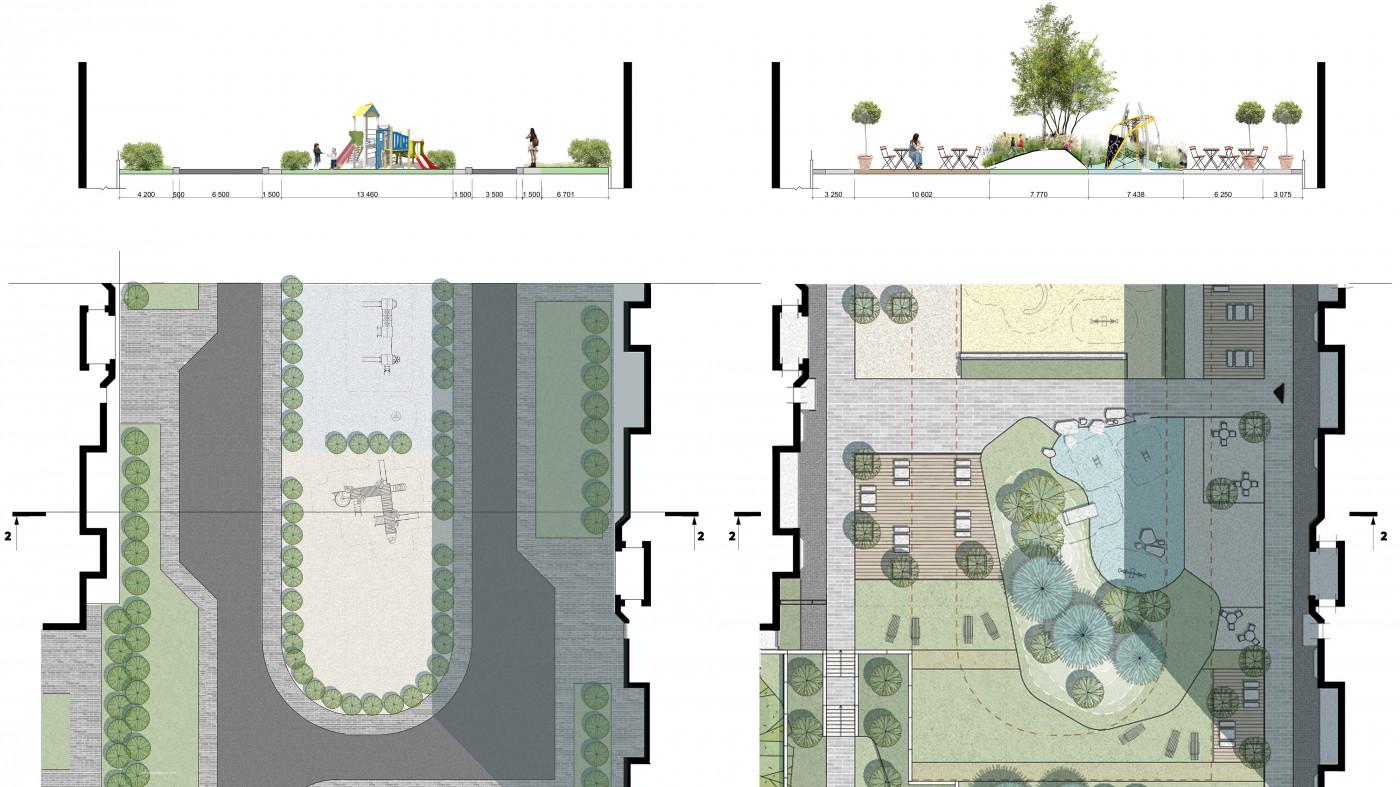 Початковий та проектний розрізи по двору / Територія ЖК «Чарівне місто»