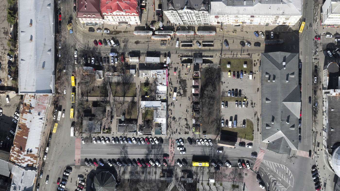 Aeria view of the site before reconstruction / Renovation of garden #3 at Square of contracts