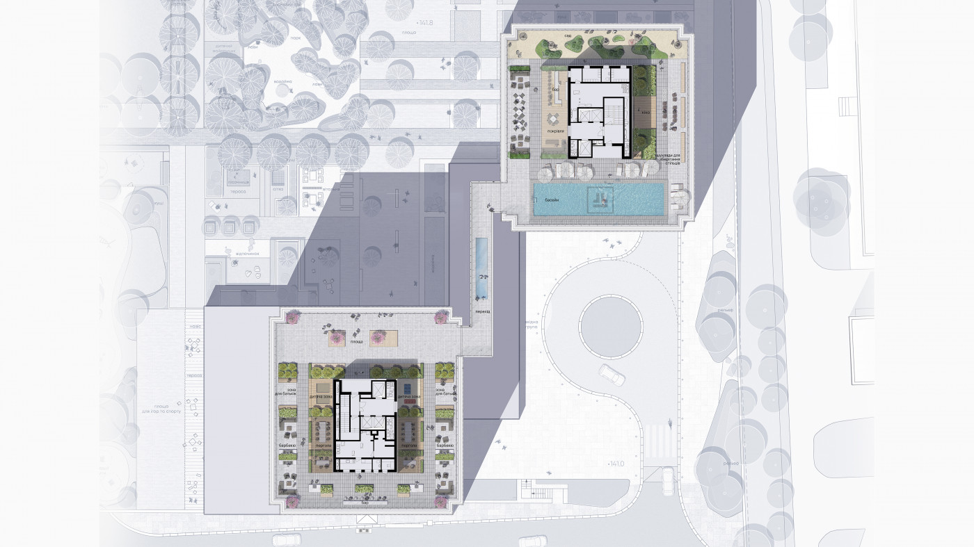 / Rooftop of residential complex 'Tetris Hall'