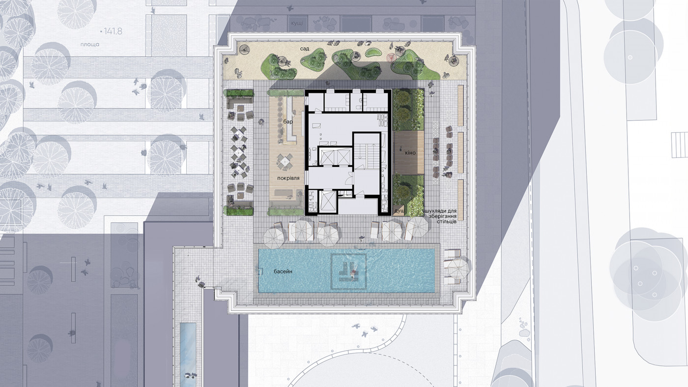Masterplan of section B / Rooftop of residential complex 'Tetris Hall'