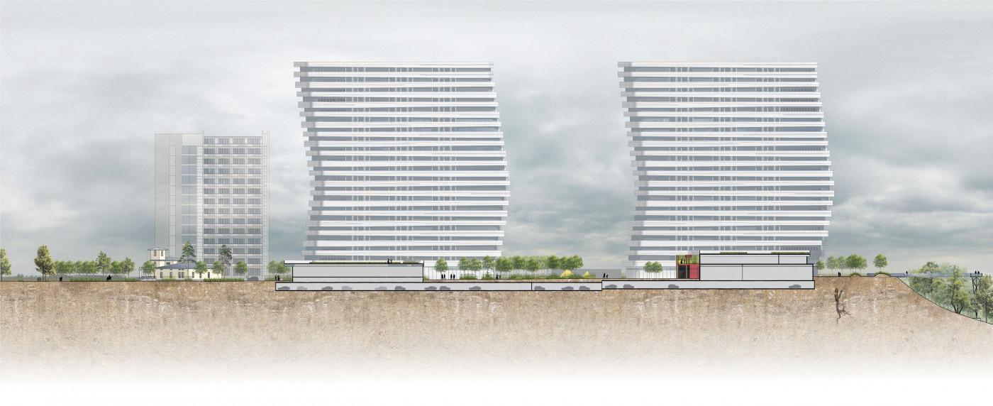 Розріз 1-1 / Residential complex 'Kandinsky'