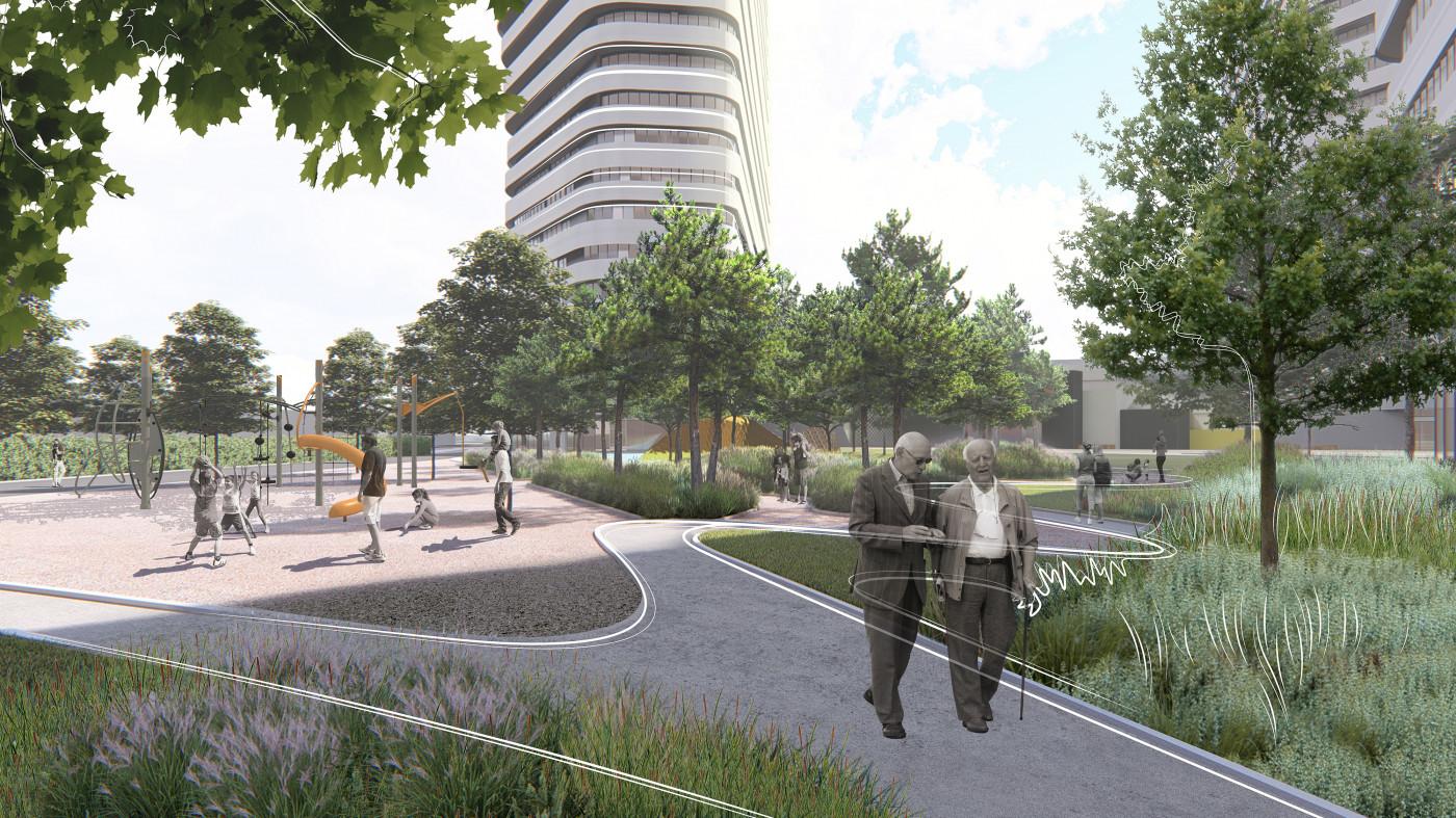 Прогулянкові доріжки та дитячий майданчик / Residential complex 'Kandinsky'