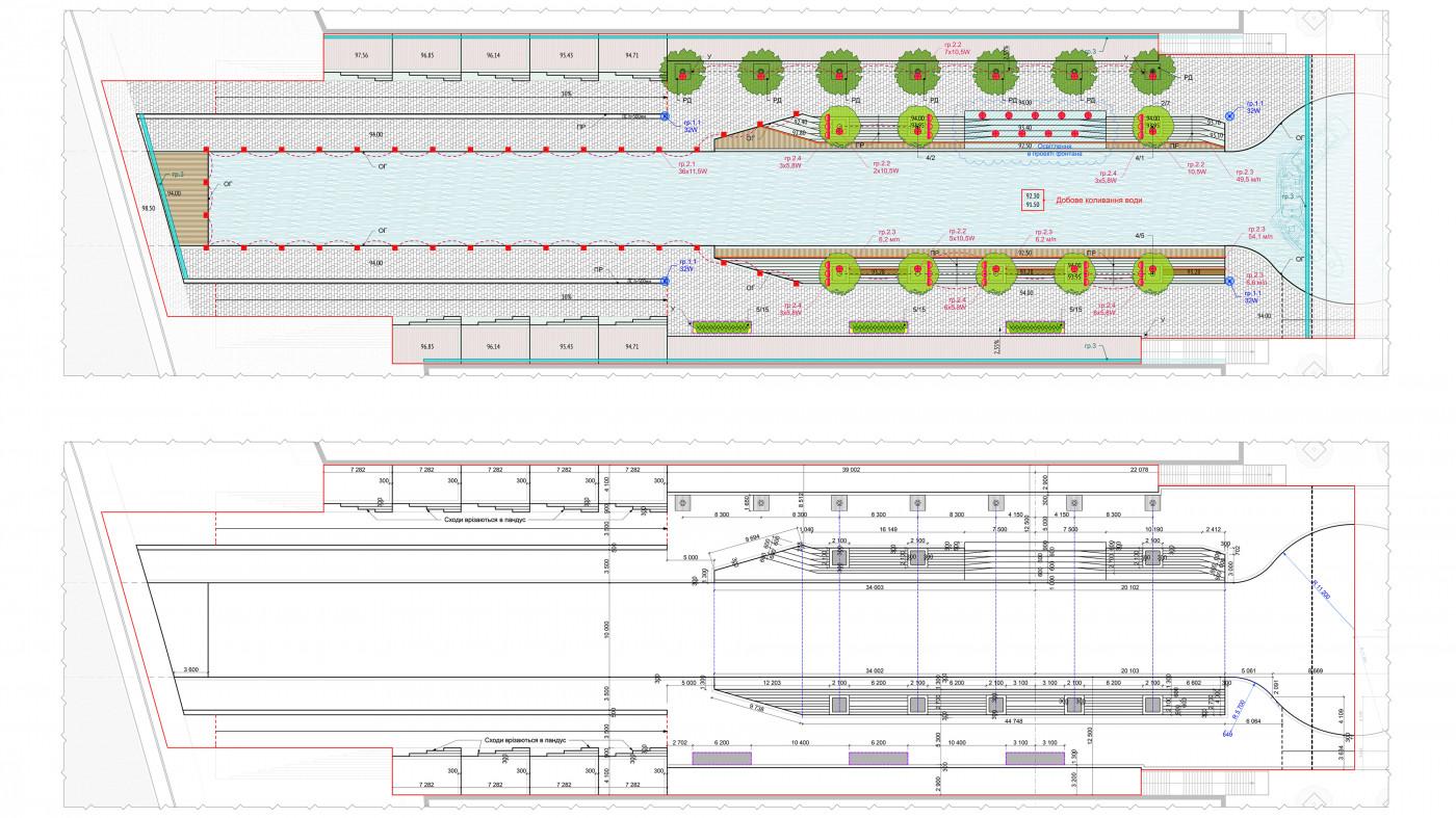 Схема генерального плану та розбивочне креслення — зелена зона та фонтани / 'Rybalsky' channel