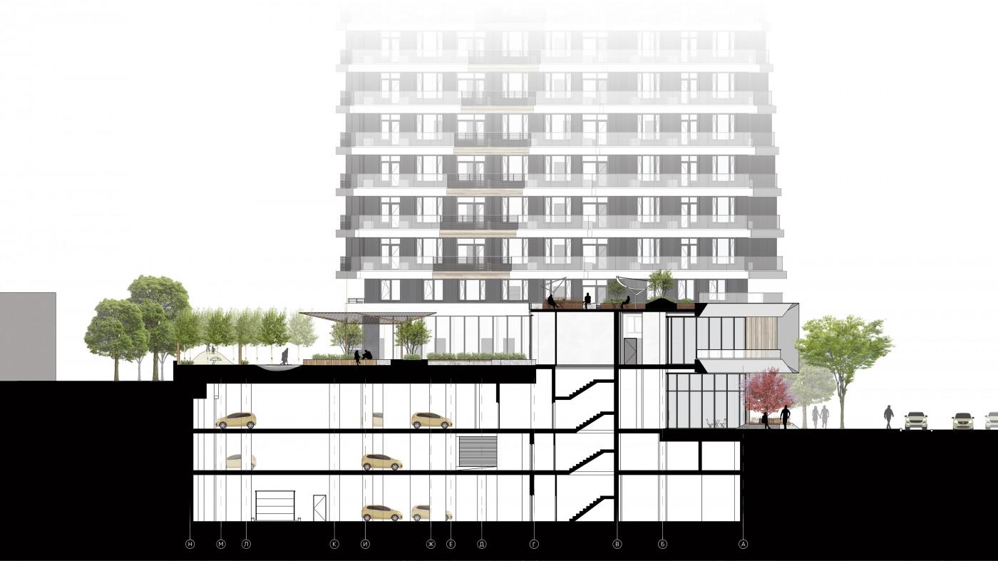 Розріз 1-1 / Residential complex 'Diadans'