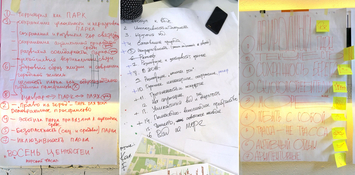 Цінності території за версіями трьох команд / Workshop 'Odesa slopes'