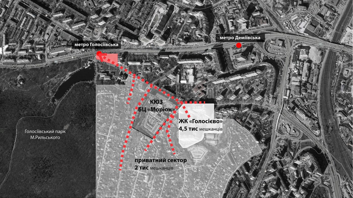 Як ходять мешканці та працівники до метро / Holosiivsky Square