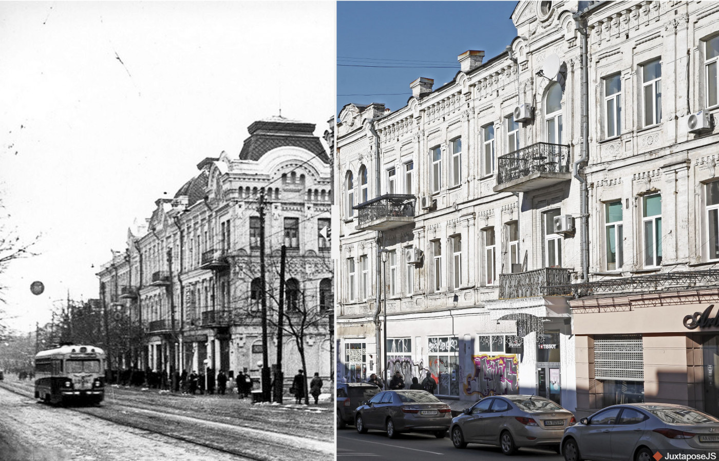 Intersection of Sahaydachnoho and Ihorevska streets as seen in 1956 and 2019